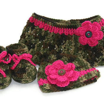 Camo Baby girl shawl hat booties set crochet in green brown hot pink with flower accent 0-3 months