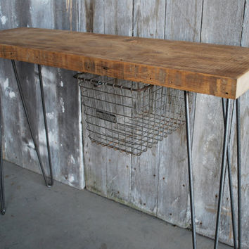 """33"""" Reclaimed Wood Console Table WITH sliding b..."""