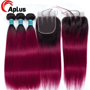 Ombre Hair Bundles With Closure 1B Red/Burgundy Malaysian Straight Human Hair Bundle With Closure Aplus Non Remy Hair 4Pcs/lot