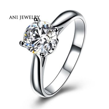 ANI 18K White Gold (AU750) Wedding Ring 0.5 CT Certified I/SI Natural Solitaire Round Cut Diamond Classic Claws Women Rings