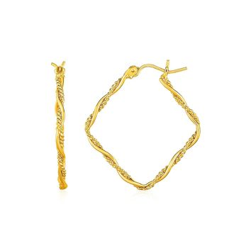 Textured and Shiny Twisted Square Hoop Earrings in 14k Yellow Gold