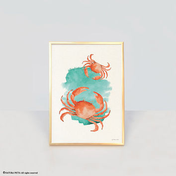 Crab print-ocean wall art-beach decor-watercolor crab print-bathroom print-home decor-coastal print-nautical print-by NATURA PICTA-NPWP13
