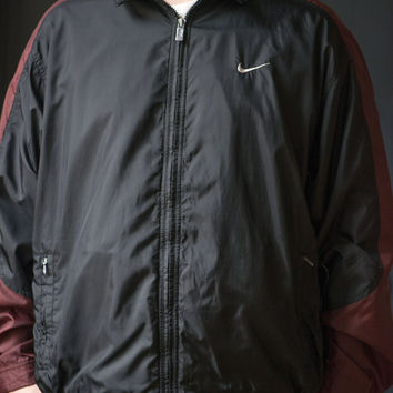 Nike Windbreaker for Men - Vintage 90s Nike Rain Jacket - Black Burgundy Hiking Camping Jacket - Active Wear Running Men Nylon Coat Size XL