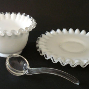 Fenton 3 Piece Set - Silver Crest Mayonnaise Bowl, Underplate, Ladle - Vintage White Milk Glass w/ Clear Trim