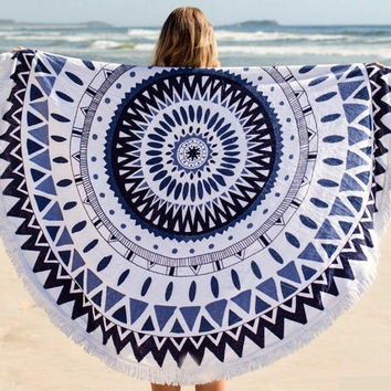 Large Microfiber Reactive Printed Round Beach Towel With Tassel