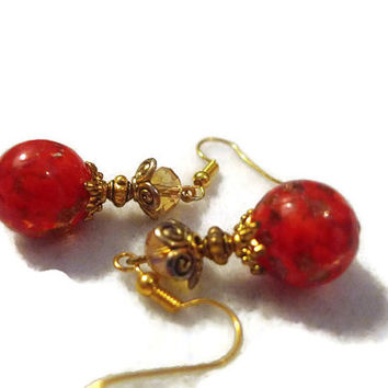Christmas Collection Bead Jewelry Red and Gold Lampwork Bead Drop Earrings 140