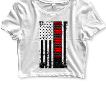 Rail Railroad Away Usa Flag Womens Crop T Shirt