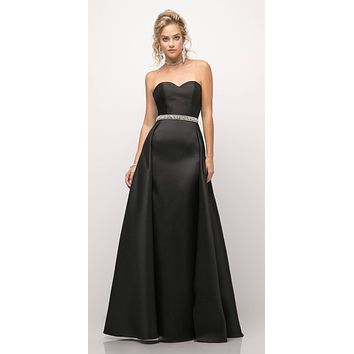 Strapless Mikado Gown Black Sheath Underskirt And Ballgown Overskirt