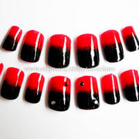 Black and Red Ombre Nails 3D Rhinestones, Artificial Fingernails