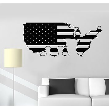 Vinyl Wall Decal American Flag Patriotic Remember Honor Soldier Stickers Mural (g1067)