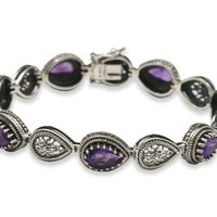 Sterling Silver and 8.75 ctw Teardrop-Shaped African Amethyst Vintage Bracelet - Like Love Buy