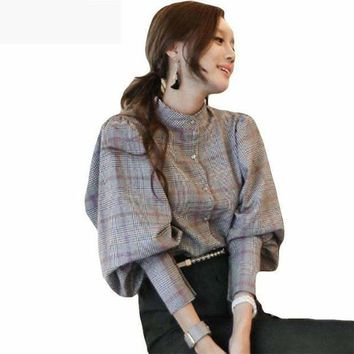 ICIKON3 2018 Spring new autumn women back bow tie slim lantern sleeve blouses high quality plaid top  work business runway blouses