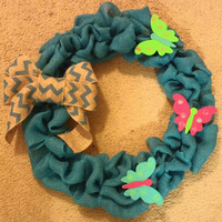 Butterfly burlap wreath-blue burlap wreath, butterfly, spring wreath, summer wreath