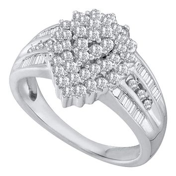 10kt White Gold Women's Round Diamond Oval Cluster Baguette Accent Ring 1.00 Cttw - FREE Shipping (US/CAN)