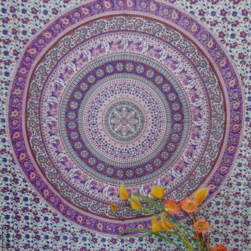 BSS307 White Base purple Mandala Tapestry with camel peacock print tapestry wall hanging/Table cloth boho hippie tapestry bed coverlet throw