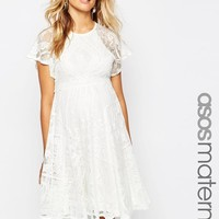 ASOS Maternity | ASOS Maternity Flutter Sleeve Lace Skater Dress at ASOS