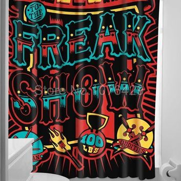 Freak Show Punk Circus Shower curtain  Water and Mildewproof 72 Inch + 12 Hooks