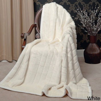 Large Thick Luxury Plush Soft Faux Fur Throw Warm Blanket