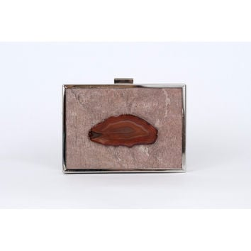 Unabashed™ Genuine Stone Clutch with Agate- Steel Copper