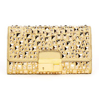 Michael Kors Gia Studded Metallic Leather Clutch