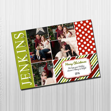Custom Photo Holiday Card - Digital File Photo Holiday Card - Red & Green Patterns