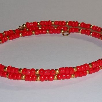 Red & Gold Glass Beaded Artisan Crafted Stackables Wrap Bracelet (S-M)