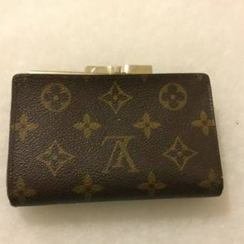 RARE 1994 LOUIS VUITTON KISS LOCK MADE IN USA WALLET COIN PURSE MONOGRAM DESIGN
