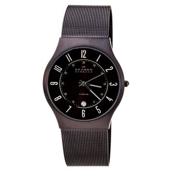 Skagen 233XLTMD Men's Denmark Black Titanium Brown Dial Quartz Watch
