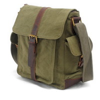 Compass crossbody messenger bag purses in canvas and leather unisex