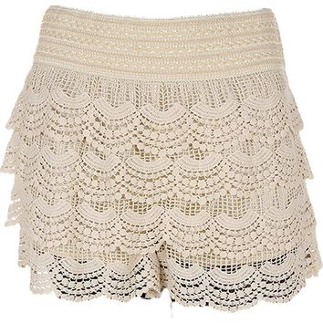Curvy Girls Crochet Shorts, Natural