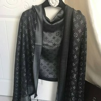 Gucci Fashion Woman Men Print Cashmere Warm Cape Scarf Scarves Dark Grey G-XLL-WJ