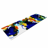 "Sonal Nathwani ""Blue Orange Floral"" Abstract Watercolor Yoga Mat"