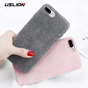 USLION Winter Warm Plush Phone Case For iPhone 8 8 Plus Flannel Furry Fur Soft TPU Back Cover Cases Coque For iPhone 7 7 Plus