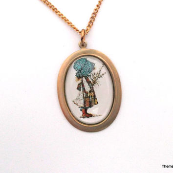 Vintage Holly Hobbie pendant necklace