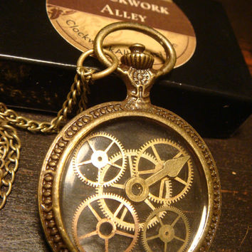 Steampunk Reversible Clockwork Gears Pocket Watch Pendant Necklace (1572)