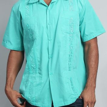 Men's Short Sleeve Cuban Style Guayabera Shirt 2000-1 (Aqua)