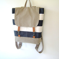 Light Navy Stripe and Beige Backpack, Unique Design of BagyBag