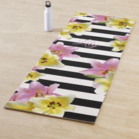 Lilies Striped Pattern Add Name or Initials Floral Yoga Mat