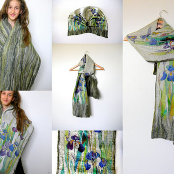 Felted silk scarf.Reversible,double sided silk shawl,scarf batik.Blue irises.Winter scarf .Long scarf.Blue,green on the grey.Shawl felted