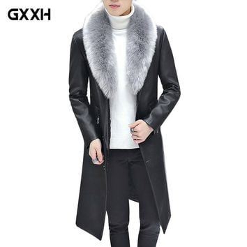 2018 New Winter Blazer Fur Collar Long Section Men fur Coat Men's Business Casual Leather Jacket Fleece Warm Thick Overcoat XXXL