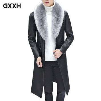 New Winter Blazer Fur Collar Long Section Men fur Coat Men's Business Casual Leather Jacket Fleece Warm Thick Overcoat XXXL
