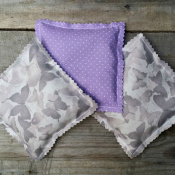 Lavender Sachets with Butterfly Fabric, Sachet Pillows, Wedding Favor, Baby Shower Favor, Lavender Scented Drawer Sachet Pillows, Set of 3