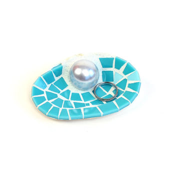 Turquoise Sea Shell Engagement Ring Holder Dish Beach Themed Decor