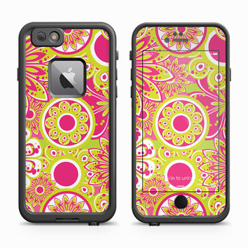 Purple and Green Floral Sunburst Skin for the Apple iPhone LifeProof Fre Case