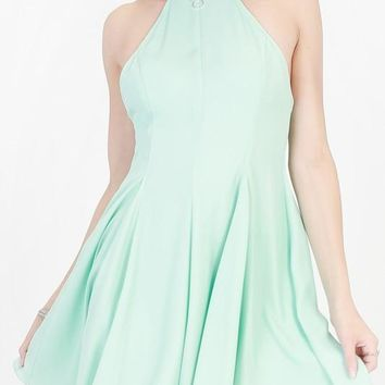high neck fit and flare dress with cutout back