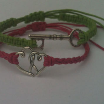 Couples Bracelets Key To My Heart His and Hers Bracelets  Mom Daughter Bracelets Hearts and Key Bracelets You Choose Color