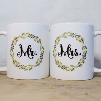 Mr and Mrs Mug Set - Matching Coffee Mug Set - Couples Coffee Mug Set - Newlywed Coffee Mug Set - Wedding Gift - Housewarming Gift