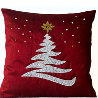 Christmas Pillow In Red Silk With White Christmas Tree And Gold Star Designer Christmas Decor