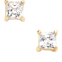 Lord & Taylor 18k Gold over Sterling Silver and Cubic Zirconia Stud Earrings