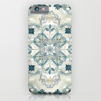 Forest Green & Neutral Taupe Detailed Lace Doodle Pattern iPhone & iPod Case by Micklyn